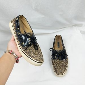 Sperry Animal Print Slip On Boat Shoes 9.5